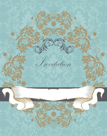 sash: Vintage invitation card with ornate elegant retro abstract floral design, light brown and gray flowers and leaves on teal background with ribbon sash banner and text label. Vector illustration.