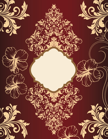 gold plaque: Vintage invitation card with ornate elegant retro abstract floral design, gold flowers and leaves on dark red background with plaque text label. Vector illustration.