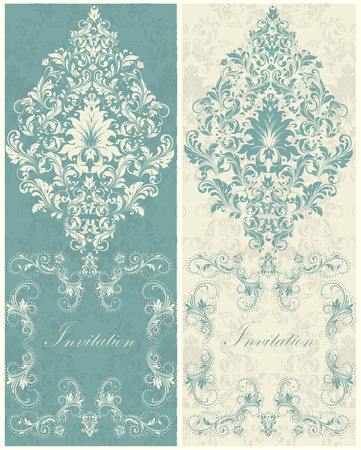 teal background: Set of two (2) vintage invitation cards with ornate elegant retro abstract floral design, beige flowers and leaves on dark teal background and teal flowers and leaves on light gray and beige background with plaque text label. Vector illustration.
