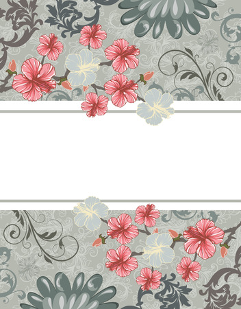 Vintage invitation card with ornate elegant retro abstract floral design, pink red and gray flowers and leaves on light background with box text label. Vector illustration.