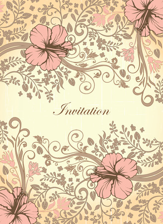 Vintage invitation card with ornate elegant retro abstract floral design, pink and gray flowers and leaves on scratch textured yellow and orange background with text label. Vector illustration.