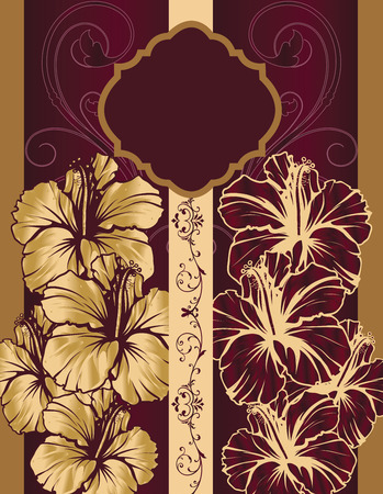 maroon background: Vintage invitation card with ornate elegant retro abstract floral design, gold and maroon flowers and leaves on gold and maroon background with stripes and plaque text label. Vector illustration.