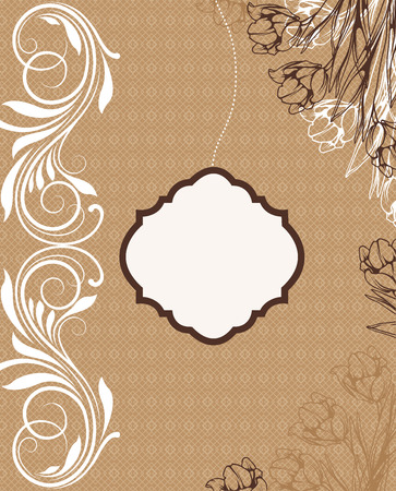 Vintage invitation card with ornate elegant retro abstract floral design, white and brown flowers and leaves on light brown mesh background with plaque text label. Vector illustration.