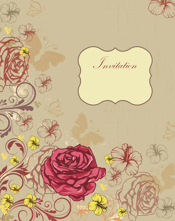 scratch card: Vintage invitation card with ornate elegant retro abstract floral design, multi-colored flowers and leaves on scratch textured khaki background with birds butterflies and plaque text label. Vector illustration. Illustration