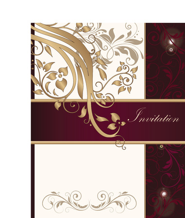 Vintage invitation card with ornate elegant retro abstract floral design, shiny gold gray purple and dark pink flowers and leaves on beige and dark red background with ribbon text label. Vector illustration.
