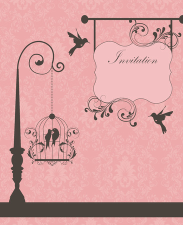 pink floral: Vintage invitation card with ornate elegant retro abstract floral design, dark gray flowers and leaves on pink background with birds and signboard plaque text label. Vector illustration.