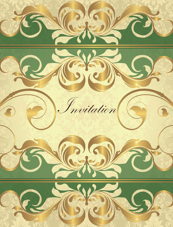 Vintage invitation card with ornate elegant retro abstract floral design, gold flowers and leaves on laurel green and light yellow background with divider strips and text label. Vector illustration.