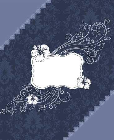 blue plaque: Vintage invitation card with ornate elegant retro abstract floral design, white grayish blue flowers and leaves on midnight blue and gray background with plaque text label. Vector illustration.
