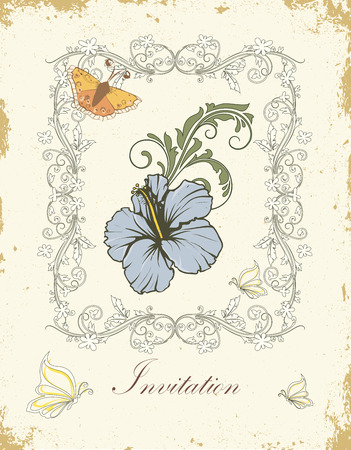 scratch card: Vintage invitation card with ornate elegant retro abstract floral design, light blue dark olive green and white flowers and leaves on scratch textured light yellow background with butterflies moths frame border and text label. Vector illustration.