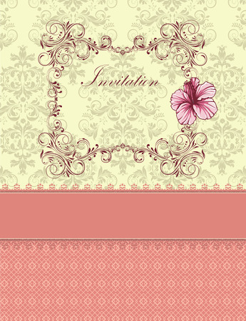 yellow card: Vintage invitation card with ornate elegant retro abstract floral design, pink flowers and leaves on pale yellow and gray background on pink mesh background with ribbon and text label. Vector illustration.