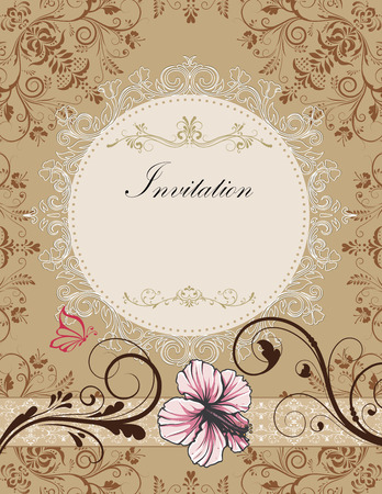 wedding invitation vintage: Vintage invitation card with ornate elegant retro abstract floral design, pink light brown and chocolate brown flowers and leaves on light grayish brown background with butterfly ribbon and round text label. Vector illustration.