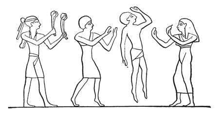 ancient civilization: Egyptian dancers, vintage engraved illustration.