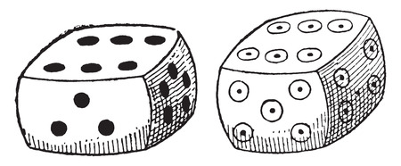 ordinary: Ordinary dice, vintage engraved illustration.