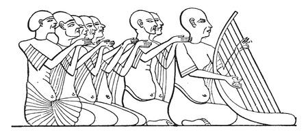 ancient civilization: Singers, vintage engraved illustration. Illustration