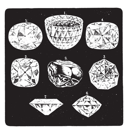 Some famous diamonds, vintage engraved illustration. La Vie dans la nature, 1890. Иллюстрация