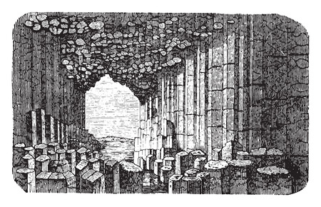 Basalt prisms, vintage engraved illustration. La Vie dans la nature, 1890.