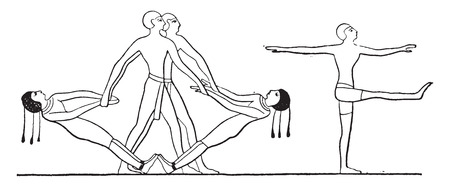 Games of the Egyptians, vintage engraved illustration.