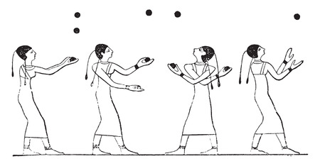 manipulate: Ball game in Egypt, vintage engraved illustration.