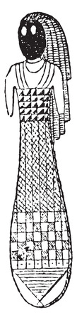 replica: Egyptian doll, vintage engraved illustration.