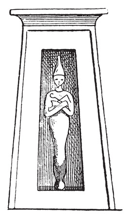 statuette: Funeral statuette, vintage engraved illustration. Illustration