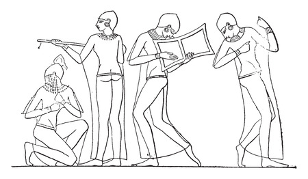 ancient egyptian civilization: Music and dance, vintage engraved illustration. Illustration