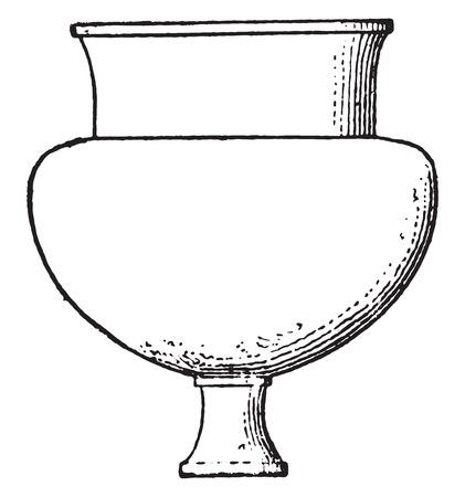 Egyptian vases, vintage engraved illustration.