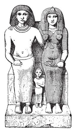Egyptian family, vintage engraved illustration. Illustration