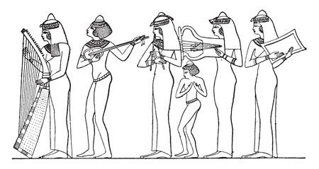 Players of instruments, vintage engraved illustration. Illustration