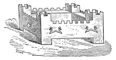 stronghold: Braising shaped citadel, vintage engraved illustration.