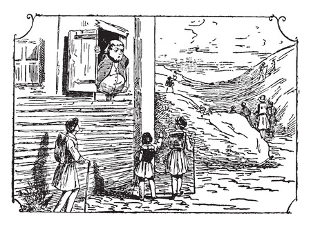 narrow: A fat man in a narrow window, vintage engraved illustration.