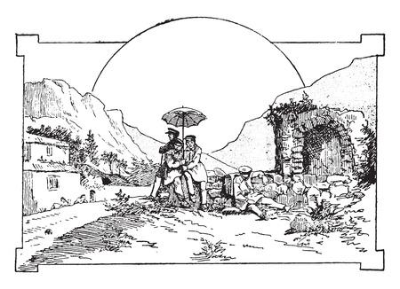 halt: Halt grilled in Valentine, vintage engraved illustration.