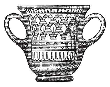 vessel: Cup, vintage engraved illustration.