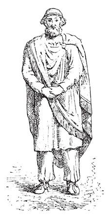 illustration: Dacian king or Sarmatian, vintage engraved illustration.
