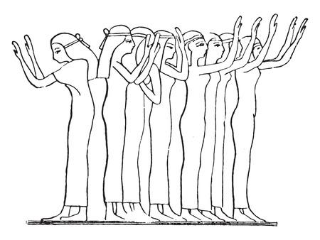 The mourners, vintage engraved illustration.
