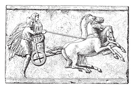 chariot: Ancient chariot, vintage engraved illustration.