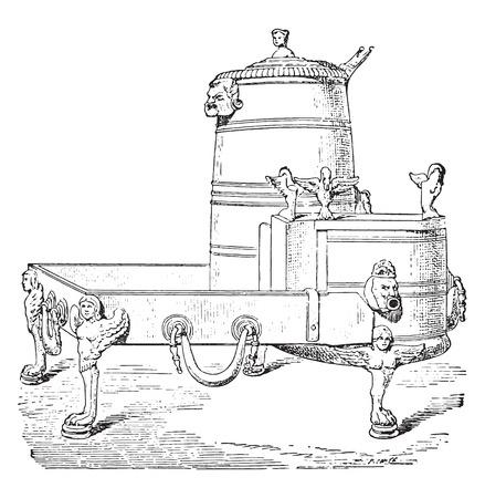 Kettle, vintage engraved illustration. Ilustração