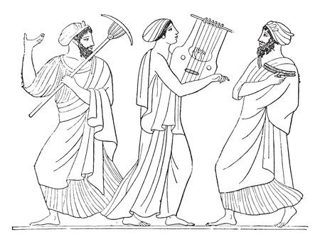 Dance (from after a Vase Painting), vintage engraved illustration.