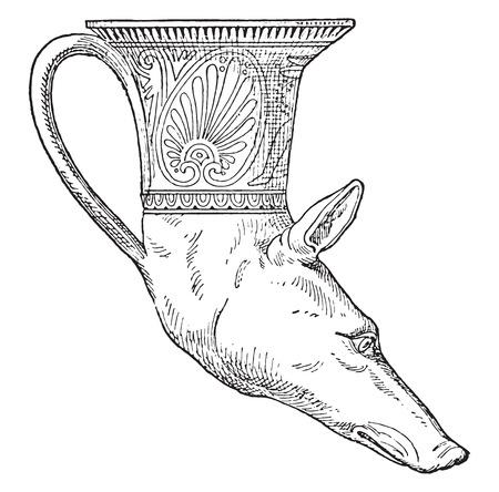 greyhound: Rhyton head of greyhound, vintage engraved illustration.