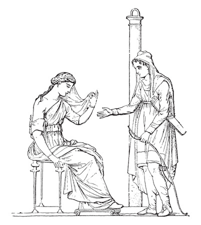 antiquity: Paris and Helen (after of an ancient painting), vintage engraved illustration.