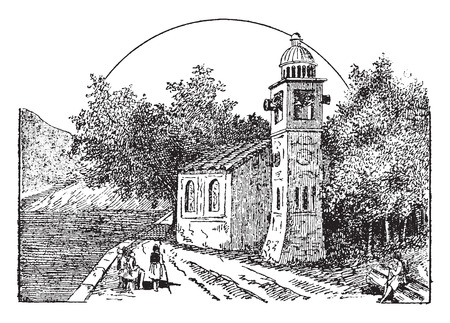The bells of Pusiano, vintage engraved illustration.