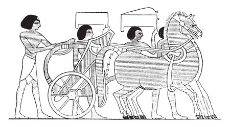 ancient egyptian culture: The preferred chariot, vintage engraved illustration. Illustration