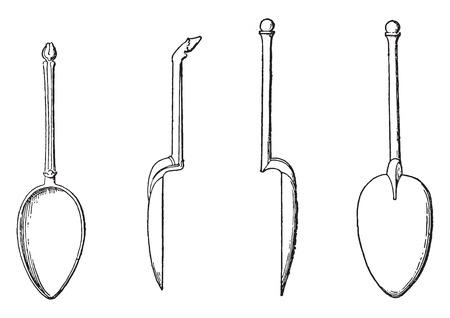 spoons found in Pompeii, vintage engraved illustration. Vettoriali
