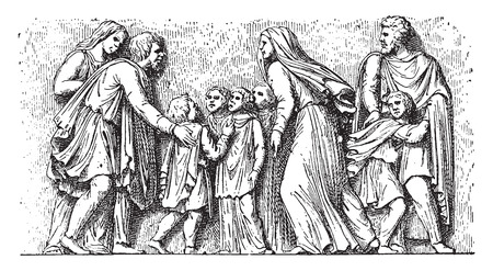 man begging: Barbarian family imploring the Romans, vintage engraved illustration. Illustration