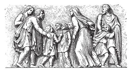 Barbarian family imploring the Romans, vintage engraved illustration. Illustration