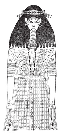 egyptian mummy: Egyptian garment. (On a mummy after painting), vintage engraved illustration.