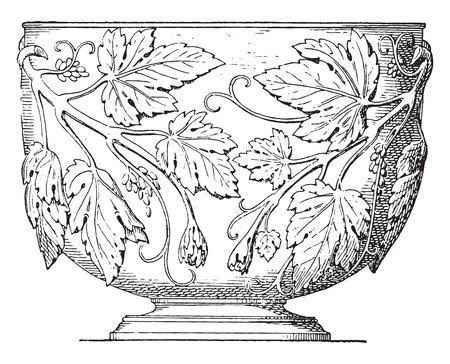 prata: Silver cup, vintage engraved illustration