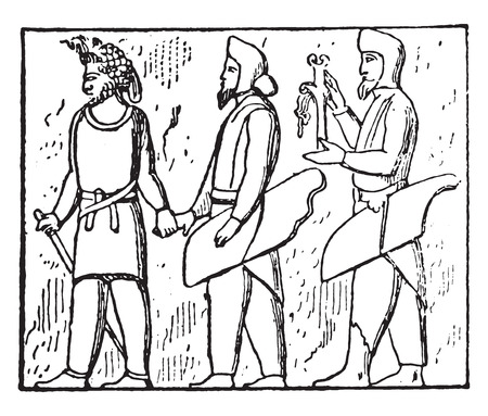 dependent: Dependent people (Bas-relief of Persepolis), vintage engraved illustration.