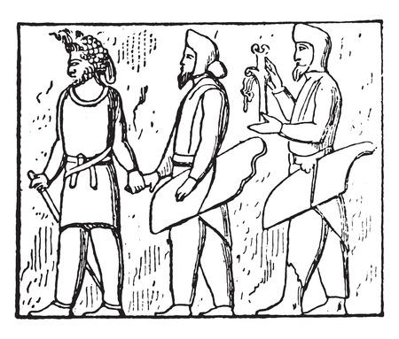 relief: Dependent people (Bas-relief of Persepolis), vintage engraved illustration.