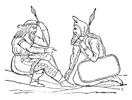 carving: Scythian Costumes (after the carving of a vase found in a tomb in Tauris), vintage engraved illustration Illustration