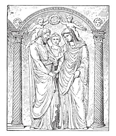 femme dessin: Mariage romain, illustration vintage gravé.